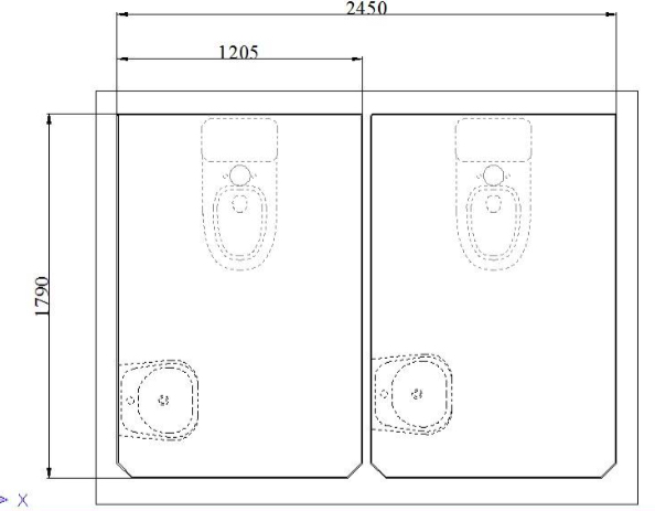 Sơ đồ bố trí nội thất nhà vệ sinh di động đôi V18.2