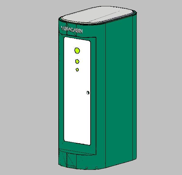 Đây là nhà vệ sinh thiết kế với kiểu dáng hiện đại và trơn phẳng, không có gân tăng cứng