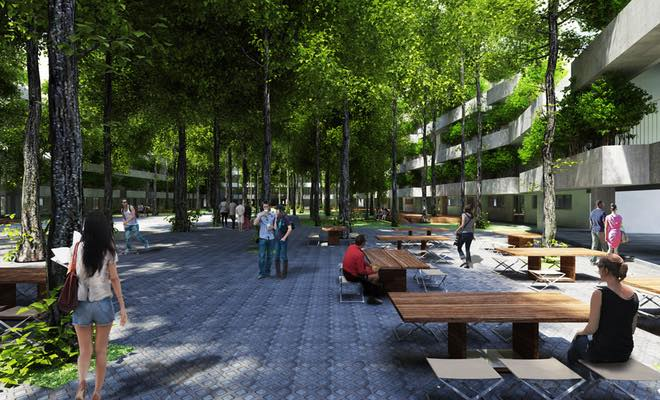 Với thiết kế có nhiều cây xanh nên phù hợp để lắp đặt nhà bảo vệ Vinacabin